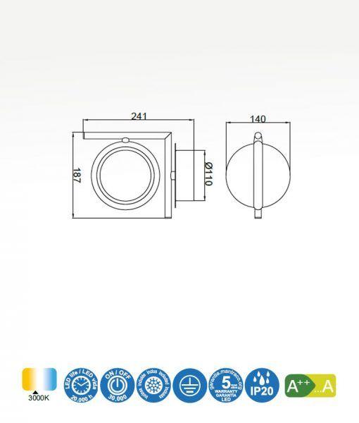 Medidas aplique LED oro satinado OLIMPIA