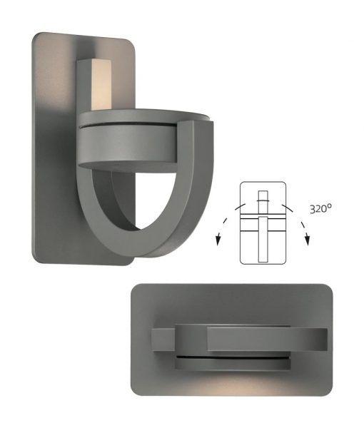 Aplique luz orientable gris oscuro IGUAZU detalles