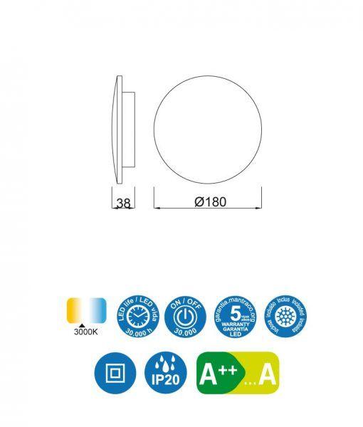 Medidas aplique mediano 18 cm plata BORA BORA LED
