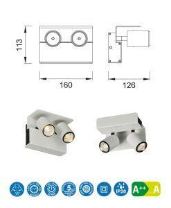 Medidas aplique o foco blanco 2L luz neutra BORACAY LED
