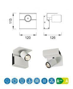 Medidas aplique o foco luz cálida color blanco BORACAY LED