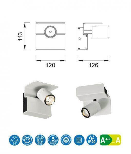 Medidas aplique o foco luz neutra color blanco BORACAY LED