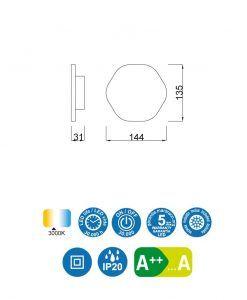 Medidas aplique original blanco BORA BORA LED