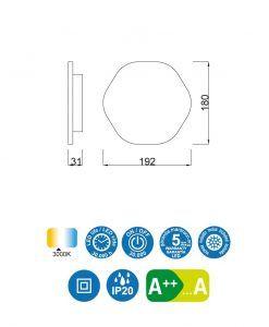 Medidas aplique original LED blanco BORA BORA