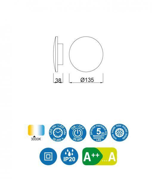 Medidas aplique pequeño 13 cm plata BORA BORA LED