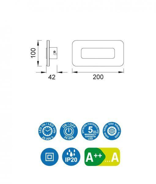 Medidas aplique rectangular níquel satinado SOL LED