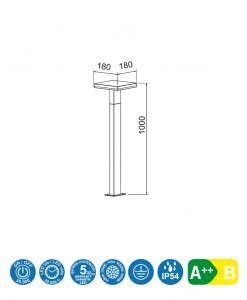 Medidas baliza LED gris oscuro 100 cm de altura TIGNES