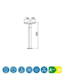 Medidas baliza LED gris oscuro 60 cm de altura TIGNES
