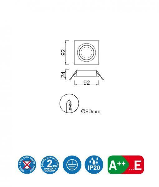 Medidas empotrable cuadrado 9,2 cm BASICO GU10