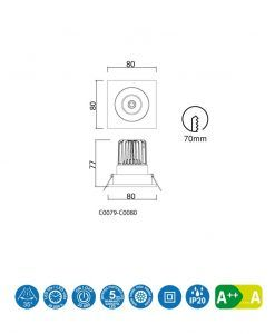 Medidas empotrable cuadrado LED luz cálida 7W FORMENTERA