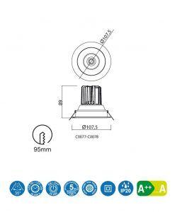 Medidas empotrable LED luz cálida 12W 10,7 cm Ø FORMENTERA