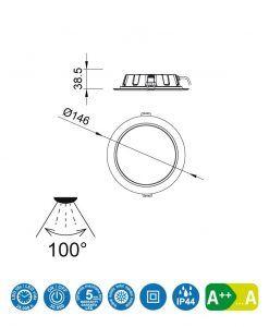 Medidas empotrable LED 10,8W 14,6 cm Ø CIES