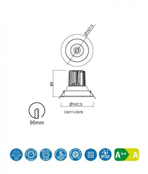 Medidas empotrable LED luz neutra 12W 10,7 cm Ø FORMENTERA
