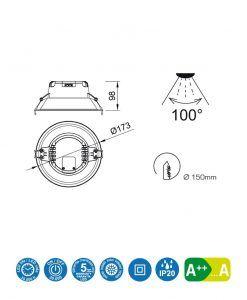 Medidas empotrable LED 12W 17,3 cm Ø MEDANO