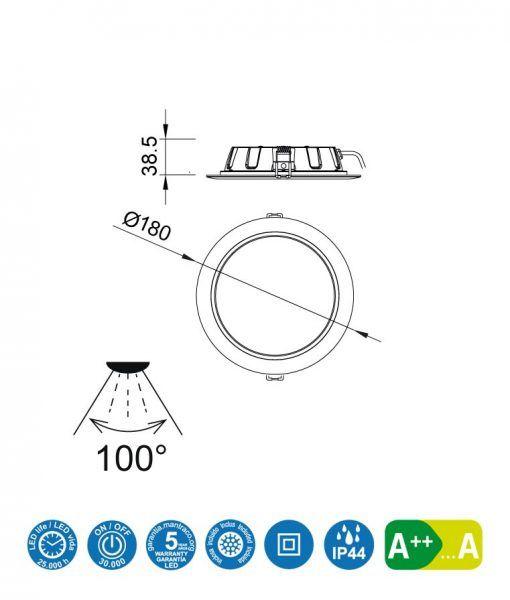 Medidas empotrable LED 15W 18 cm Ø CIES