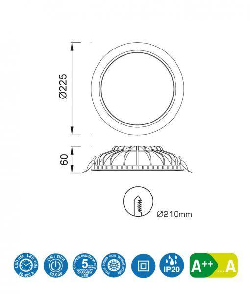 Medidas empotrable LED 24W 22,5 cm Ø CABRERA