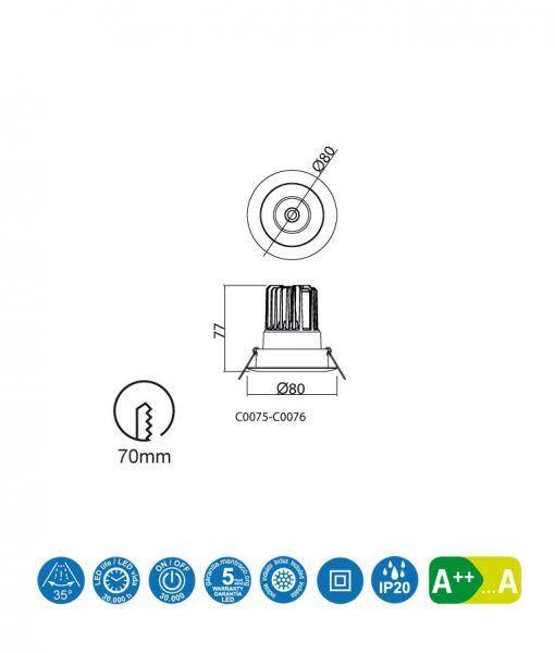 Medidas empotrable LED luz neutra 7W 8 cm Ø FORMENTERA