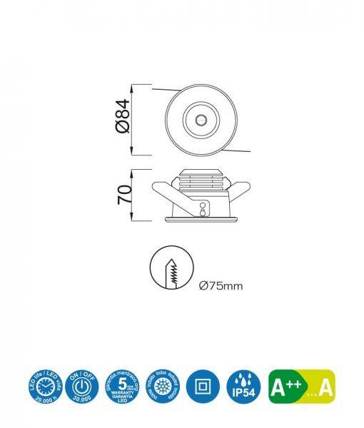 Medidas empotrable LED 7W 8,4 cm Ø CIES