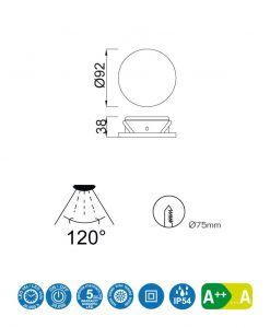 Medidas empotrable LED 7W 9,2 cm Ø FORMENTERA