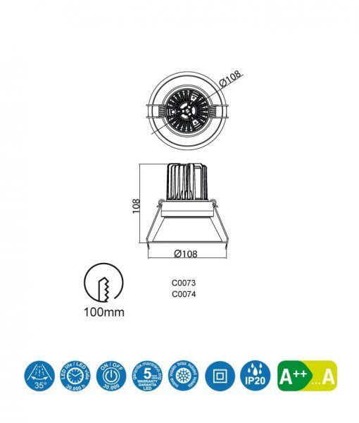 Medidas empotrable luz cálida 12W 10,8 cm Ø FORMENTERA LED