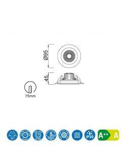 Medidas empotrable 5W 9,5 cm Ø BASICO COB LED