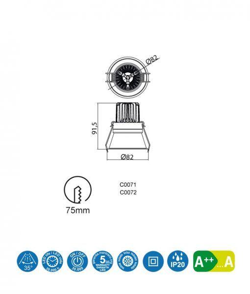 Medidas empotrable luz neutra 7W 8 cm Ø FORMENTERA LED