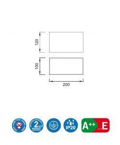 Medidas foco de superficie 2L color plata KAILUA