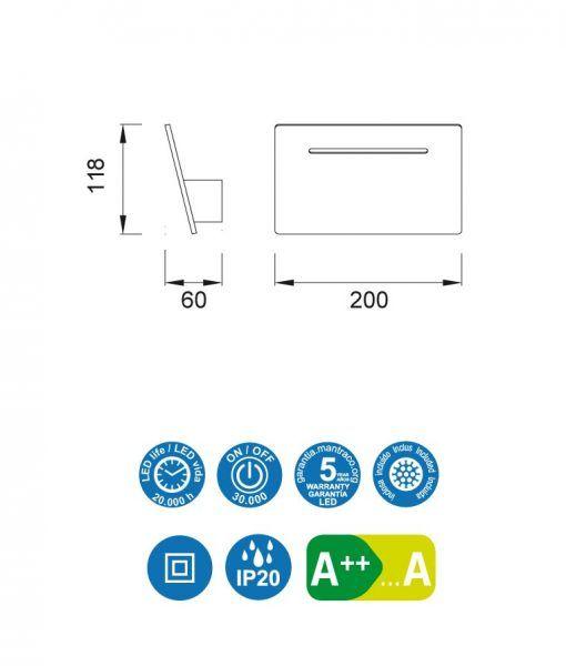 Medidas lámpara aplique blanco 4W luz neutra TOJA LED