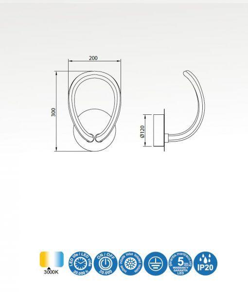 Medidas lámpara aplique LED cromo y blanco KNOT LINE
