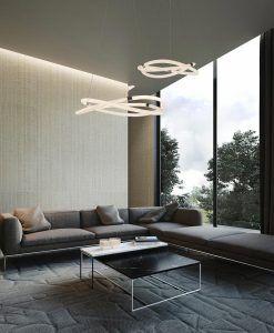 Lámparas colgantes cromo y blanco INFINITY LINE LED ambiente
