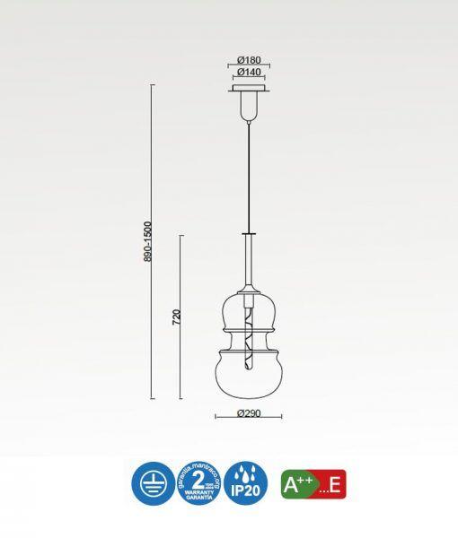 Medidas lámpara colgante grande cobre SONATA