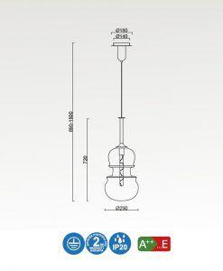 Medidas lámpara colgante grande cromo y grafito SONATA