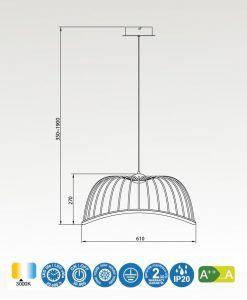 Medidas lámpara colgante mediana blanca CELESTE LED