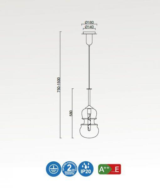 Medidas lámpara colgante mediana bronce SONATA