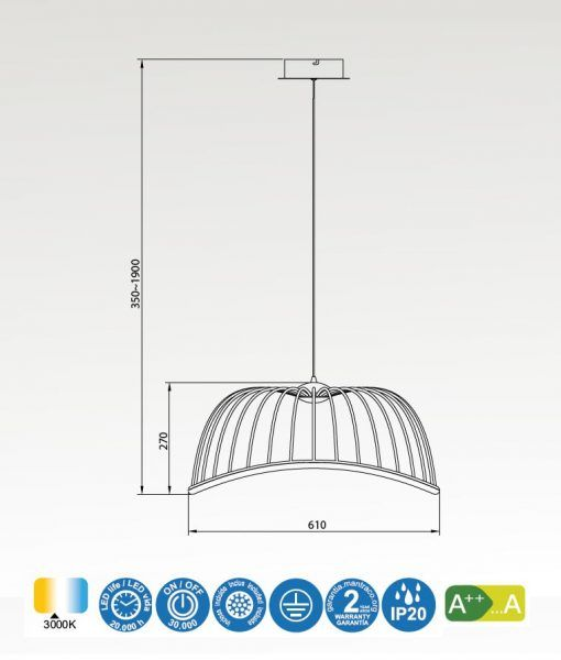 Medidas lámpara colgante mediana negro CELESTE LED