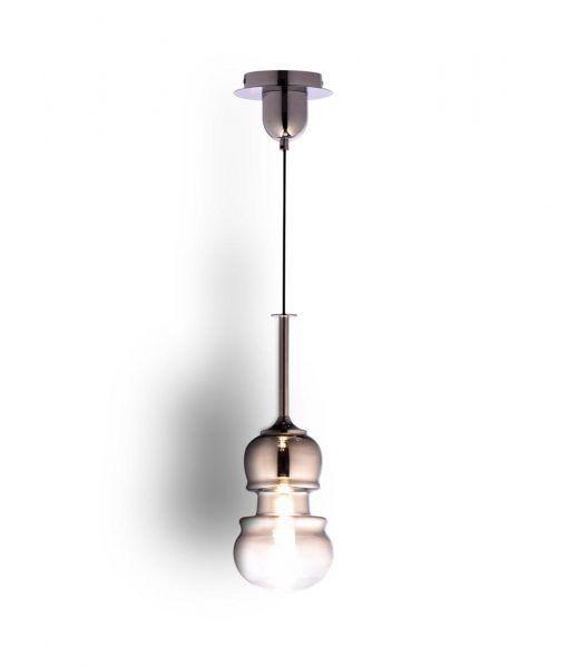 Lámpara colgante pequeña cromo y grafito SONATA detalles 2