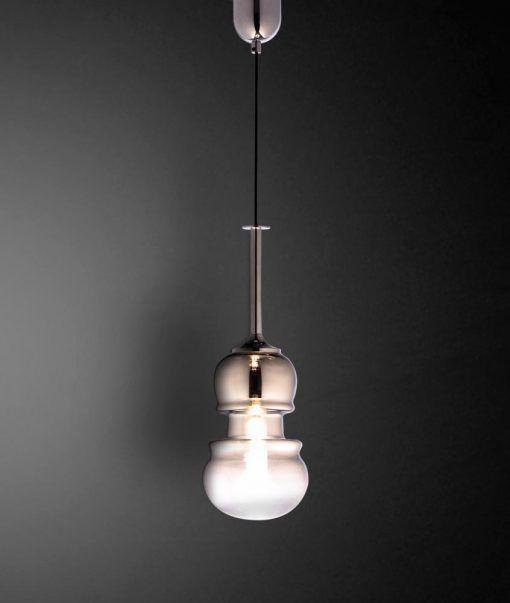 Lámpara colgante pequeña cromo y grafito SONATA detalles