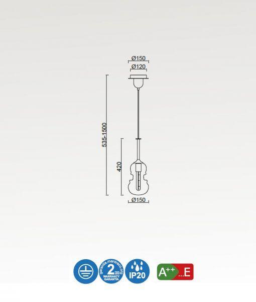 Medidas lámpara colgante pequeña cromo y grafito SONATA