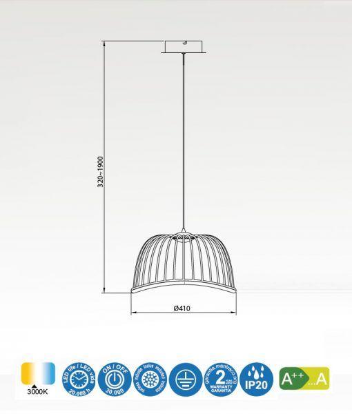 Medidas lámpara colgante pequeño negro CELESTE LED