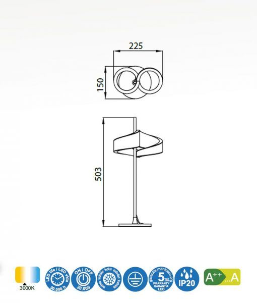 Medidas lámpara de mesa LED blanco TSUNAMI