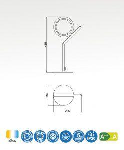 Medidas lámpara de mesa LED cromo OLIMPIA