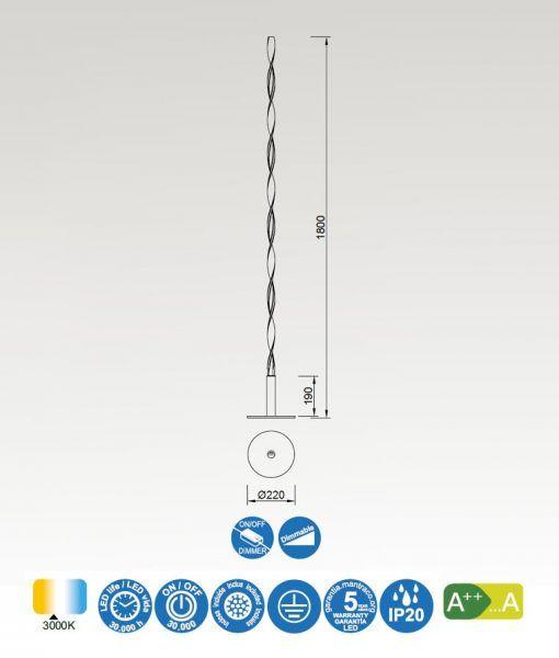Lámpara de pie blanca MADAGASCAR medidas