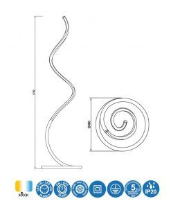 Medidas lámpara de pie cromo y blanco NUR LINE LED