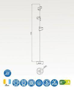 Medidas lámpara de pie LED blanco TSUNAMI