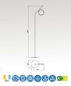Medidas lámpara de pie LED cromo OLIMPIA