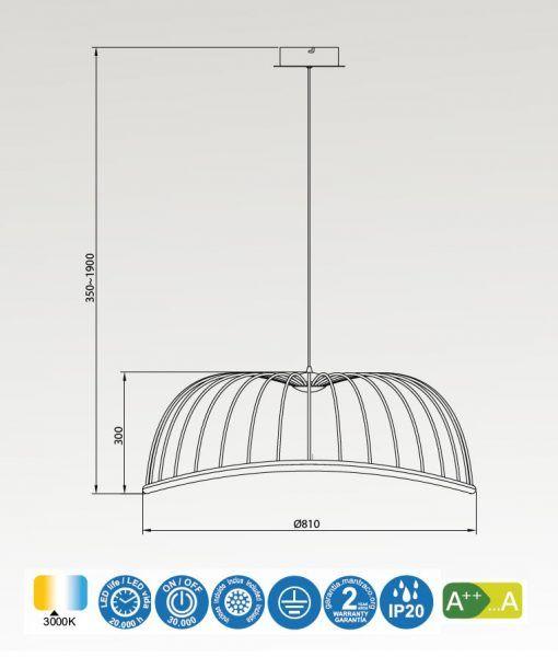Medidas lámpara de techo grande negro CELESTE LED