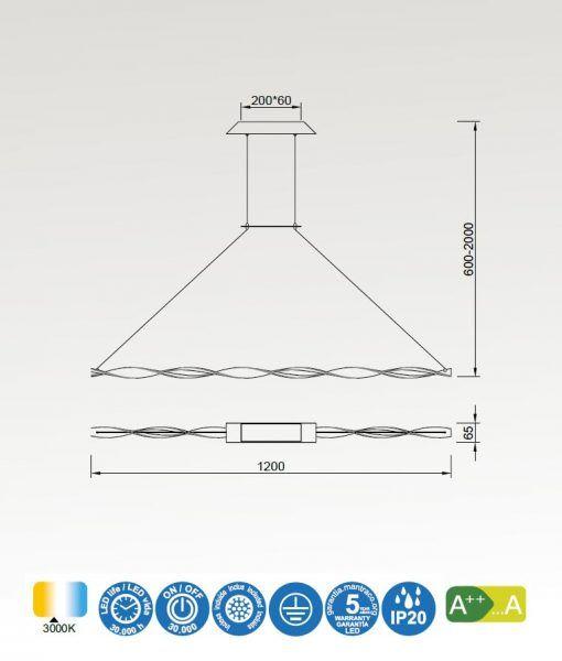 Medidas lámpara lineal blanca MADAGASCAR