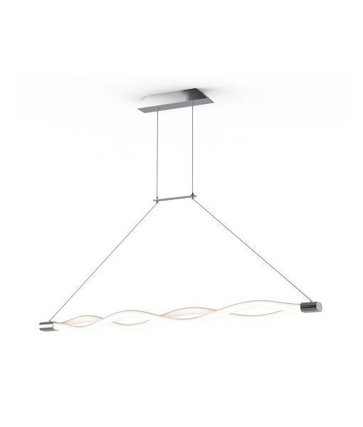 Lámpara lineal colgante cromo y blanco SAHARA LINE LED