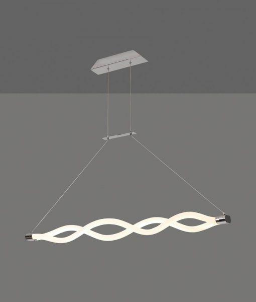 Lámpara lineal colgante cromo y blanco SAHARA LINE LED detalles