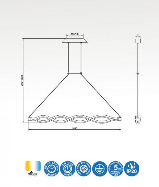 Medidas lámpara lineal colgante cromo y blanco SAHARA LINE LED